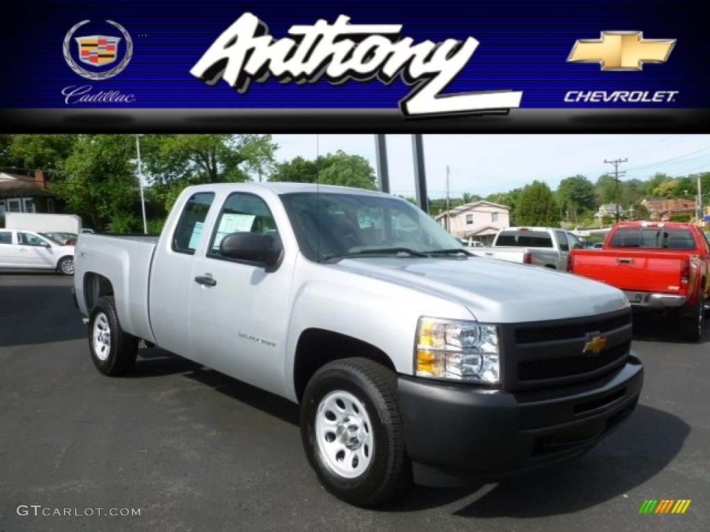 2012 Silverado 1500 Work Truck Extended Cab 4x4 - Silver Ice Metallic / Dark Titanium photo #1