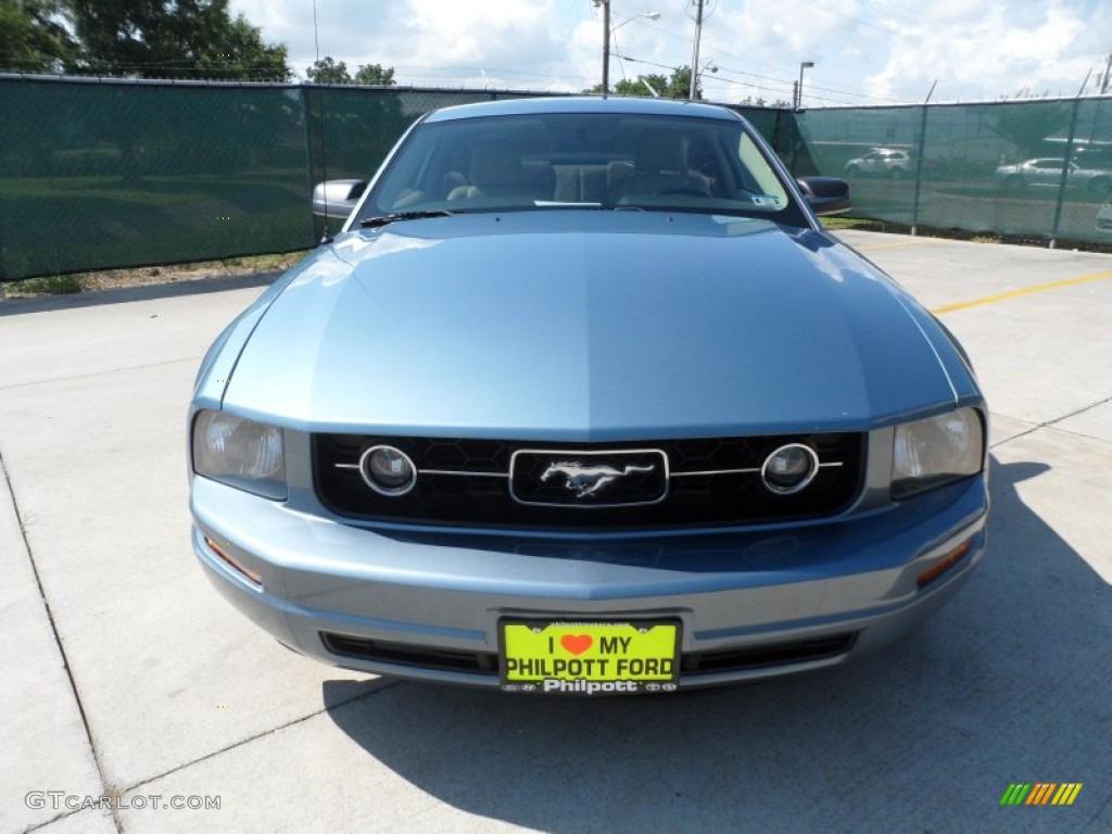 2006 Mustang V6 Premium Coupe - Windveil Blue Metallic / Light Parchment photo #8