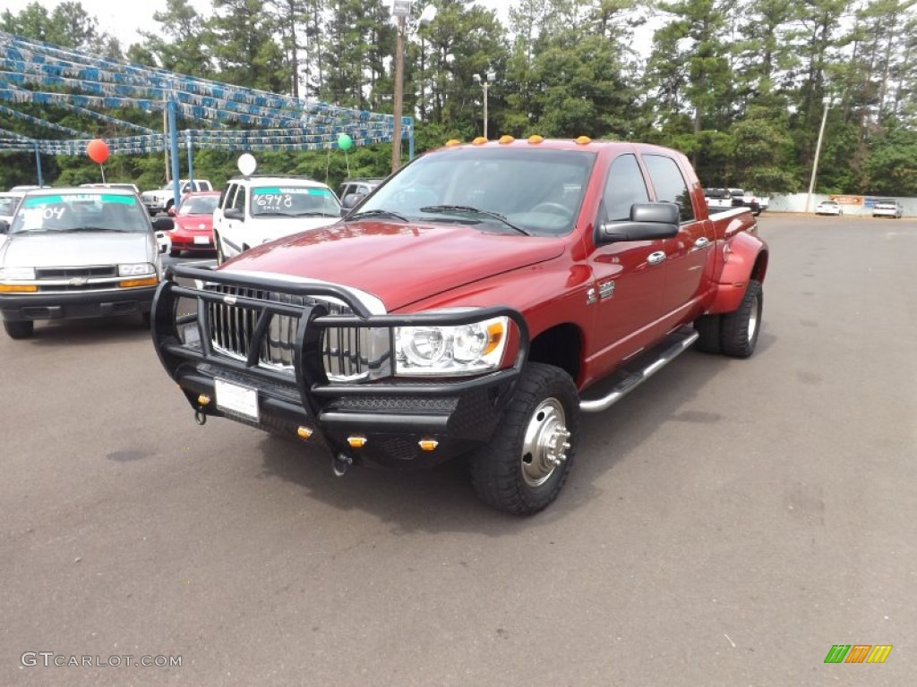 2008 Ram 3500 SLT Mega Cab 4x4 Dually - Inferno Red Crystal Pearl / Medium Slate Gray photo #1