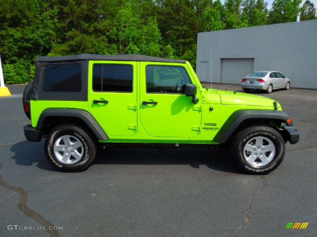 Gecko Green 2012 Jeep Wrangler Unlimited Sport S 4x4 Exterior Photo  #66728309