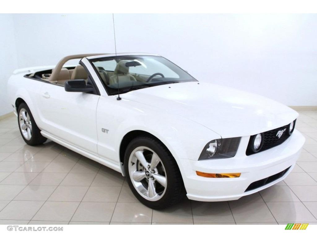 2006 Mustang GT Premium Convertible - Performance White / Light Parchment photo #1