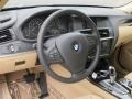2013 BMW X3 Beige Interior Steering Wheel Photo