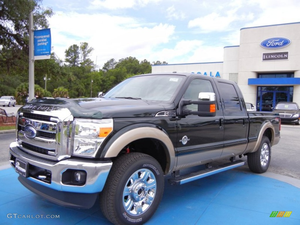 2012 F250 Super Duty Lariat Crew Cab 4x4 - Green Gem Metallic / Adobe photo #1