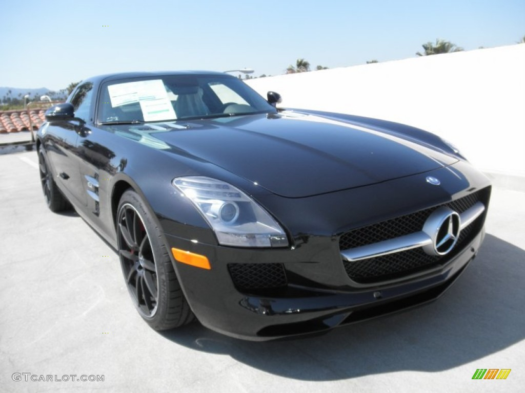 2012 obsidian black metallic mercedes benz sls amg