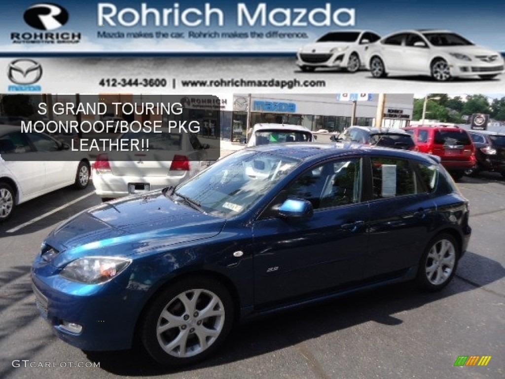 2008 phantom blue mica mazda mazda3 s grand touring hatchback 67146999 car. Black Bedroom Furniture Sets. Home Design Ideas
