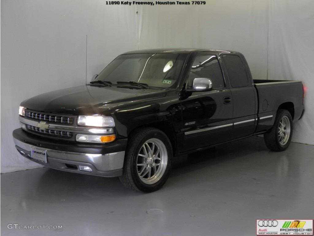 2002 Silverado 1500 LS Extended Cab - Onyx Black / Tan photo #4