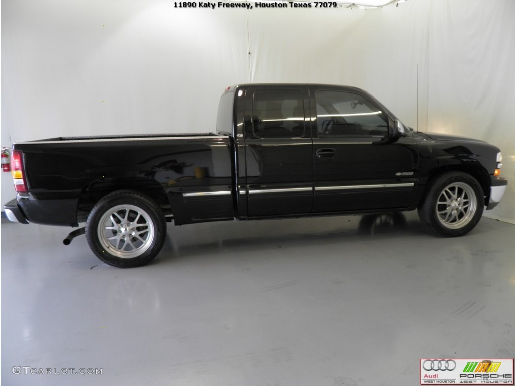 2002 Silverado 1500 LS Extended Cab - Onyx Black / Tan photo #6