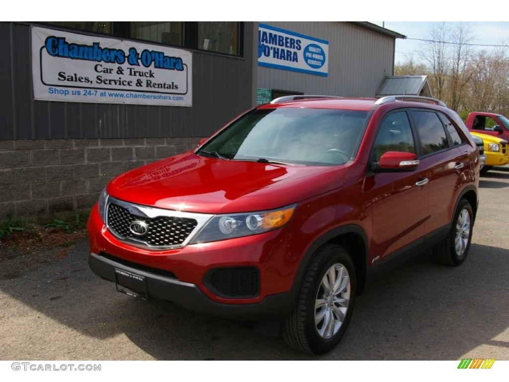 2011 Sorento LX V6 AWD - Spicy Red / Beige photo #1