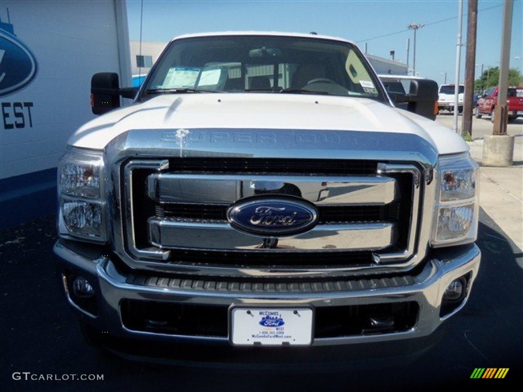 2012 F250 Super Duty Lariat Crew Cab 4x4 - White Platinum Metallic Tri-Coat / Adobe photo #1