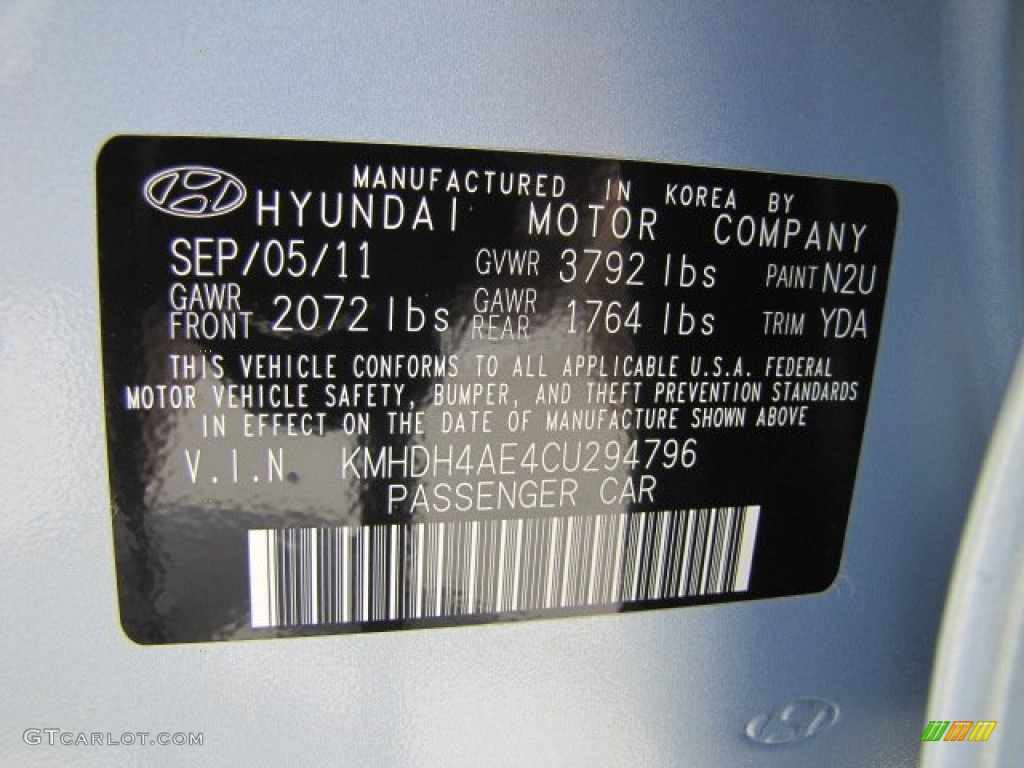 2012 elantra color code n2u for blue sky metallic photo - 2012 hyundai elantra exterior colors ...
