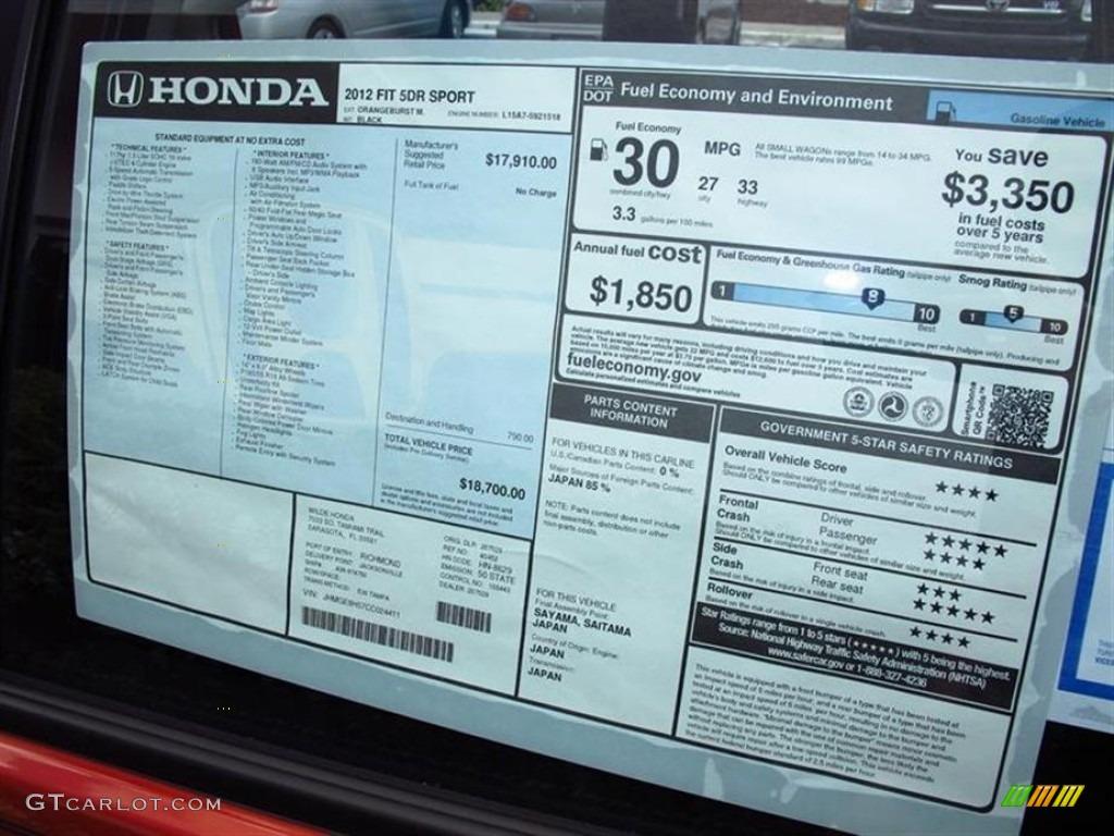 2012 honda fit sport window sticker photo 67528721