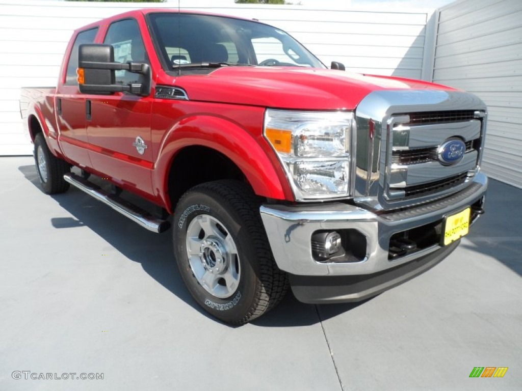 2012 F250 Super Duty XLT Crew Cab 4x4 - Vermillion Red / Steel photo #1