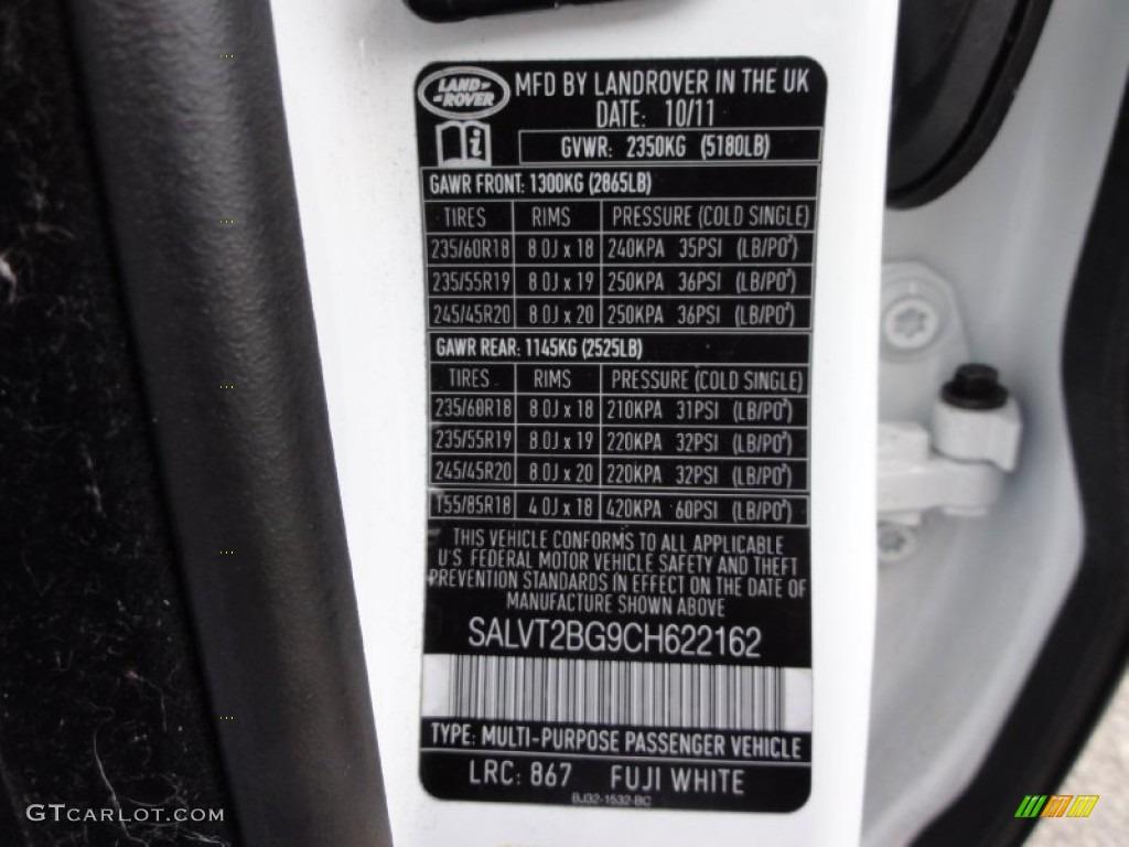 2015 Land Rover Range Rover Evoque Pure >> 2012 Range Rover Evoque Color Code 867 for Fuji White Photo #67810284 | GTCarLot.com