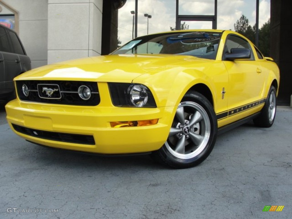Screaming Yellow 2006 Ford Mustang V6 Premium Coupe Exterior Photo #67816848