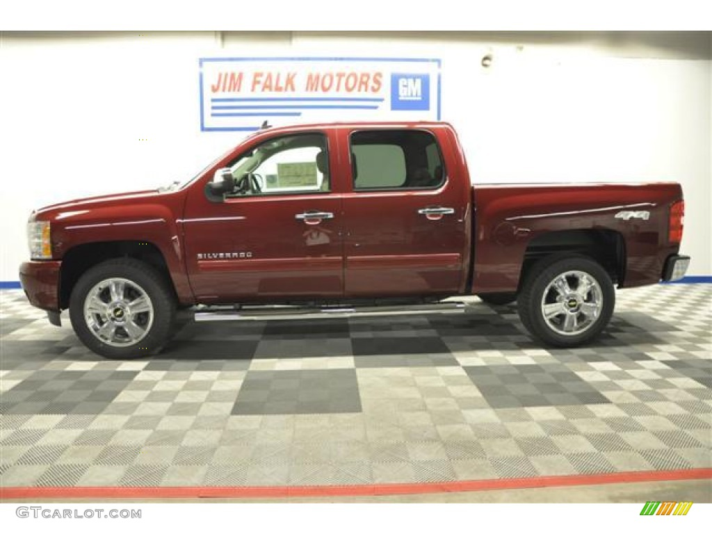 2013 Silverado 1500 LTZ Crew Cab 4x4 - Deep Ruby Metallic / Light Cashmere/Dark Cashmere photo #3