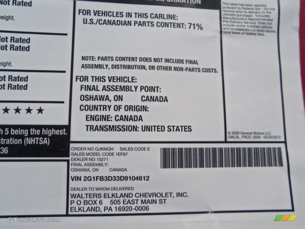 Window Sticker on Camaro Zl1 Motor
