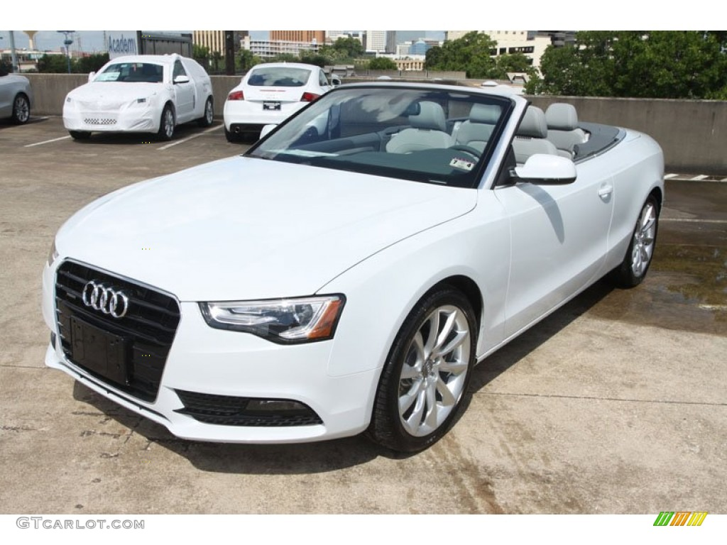 glacier white metallic 2013 audi a5 2 0t quattro cabriolet exterior photo 68242505. Black Bedroom Furniture Sets. Home Design Ideas