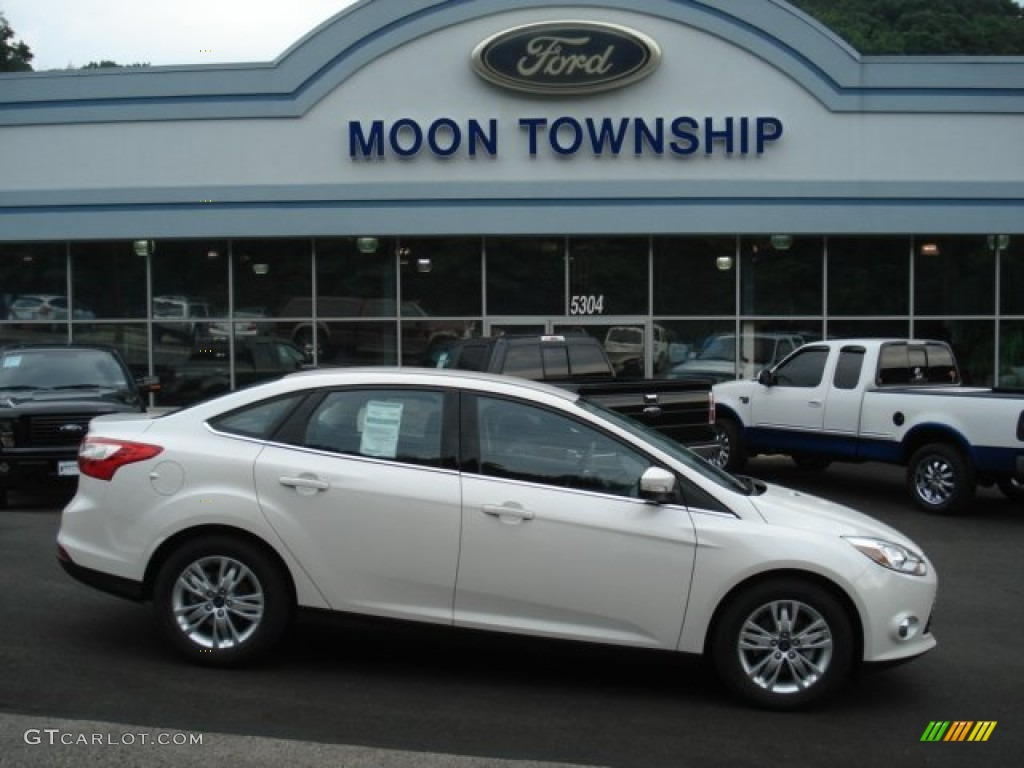 2012 Focus SEL Sedan - White Platinum Tricoat Metallic / Charcoal Black photo #1