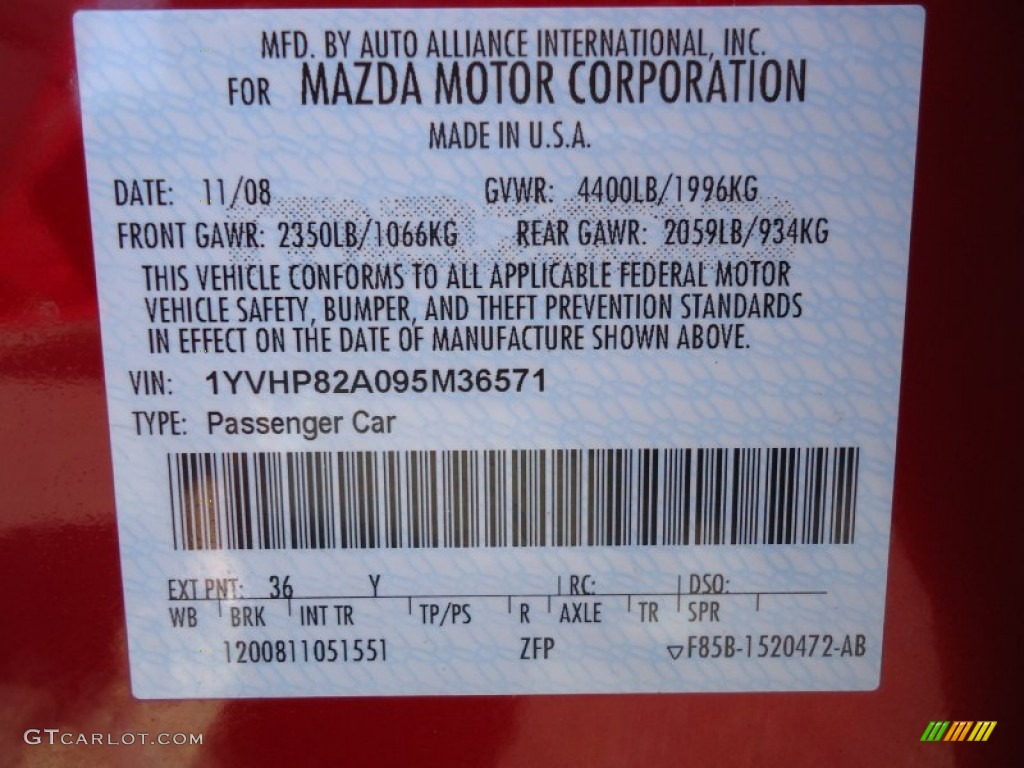 2009 Mazda Mazda6 I Touring Color Code Photos Gtcarlot Com