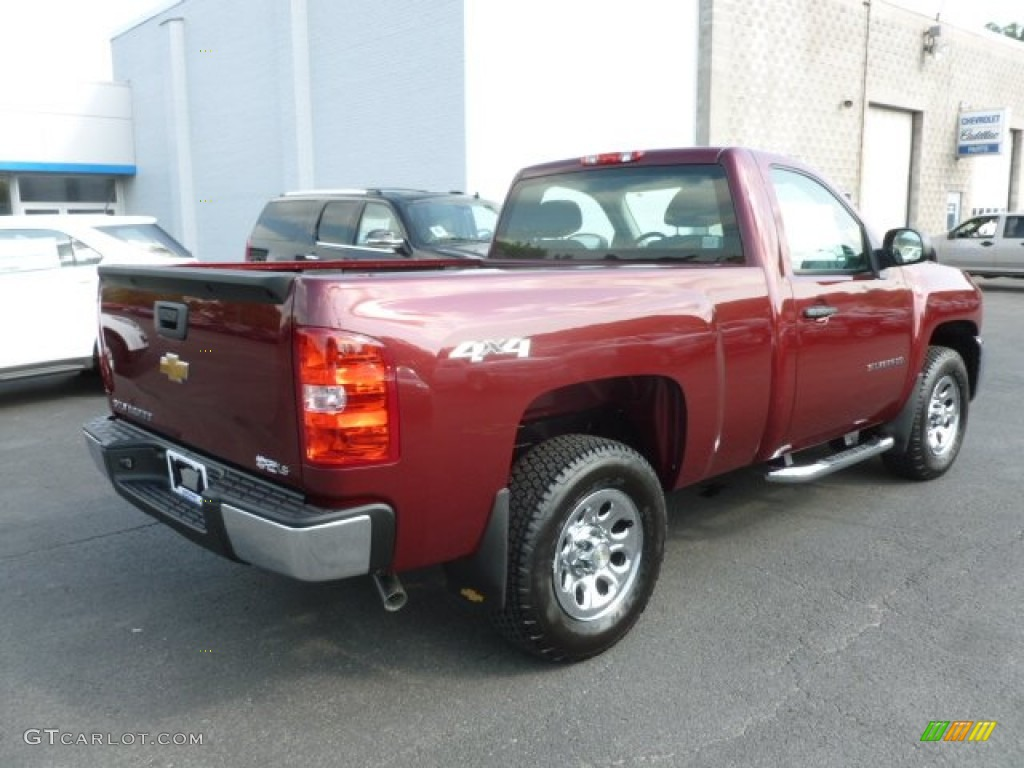 2013 Silverado 1500 Work Truck Regular Cab 4x4 - Deep Ruby Metallic / Dark Titanium photo #7