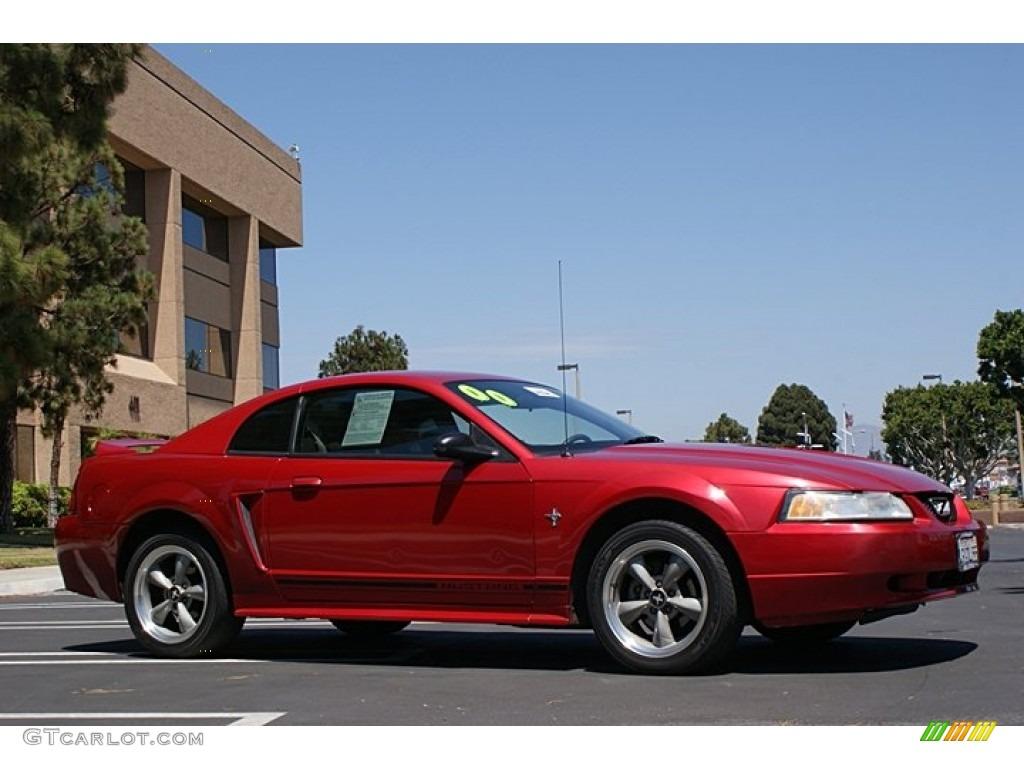 2000 Mustang V6 Coupe - Laser Red Metallic / Medium Graphite photo #4