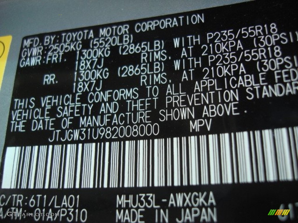 2008 Lexus RX 400h Hybrid Color Code Photos
