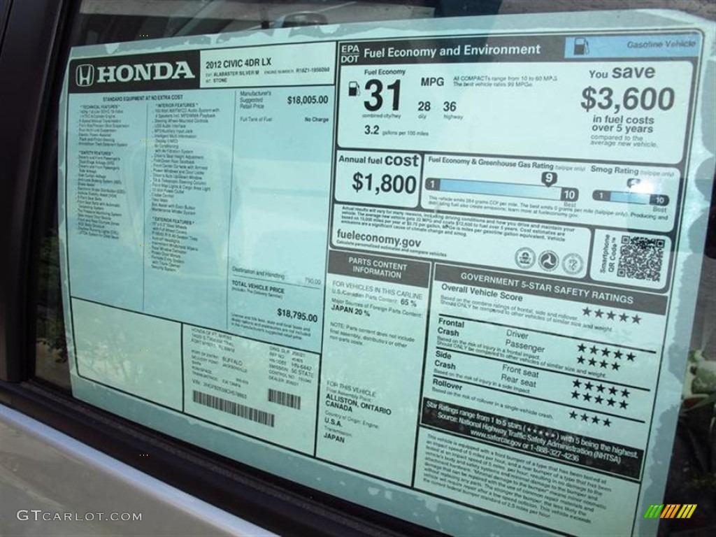 2012 honda civic lx sedan window sticker photo 68814212 for 1996 honda civic dx manual window regulator
