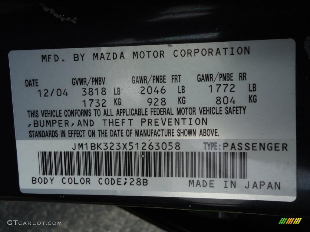 2005 Mazda MAZDA3 SP23 Special Edition Sedan Color Code ...