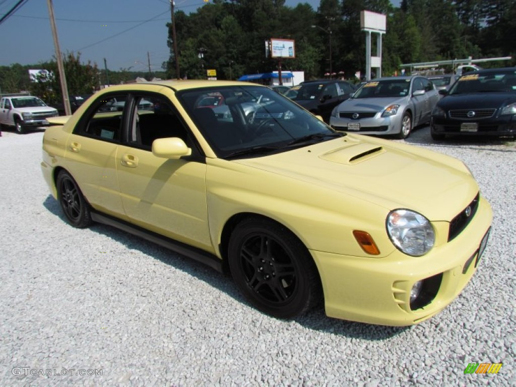Blaze Yellow 2002 Subaru Impreza WRX Sedan Exterior Photo #68844252