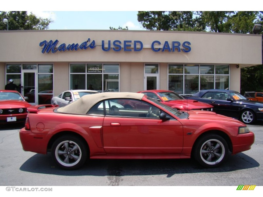 2001 Mustang GT Convertible - Laser Red Metallic / Medium Parchment photo #1