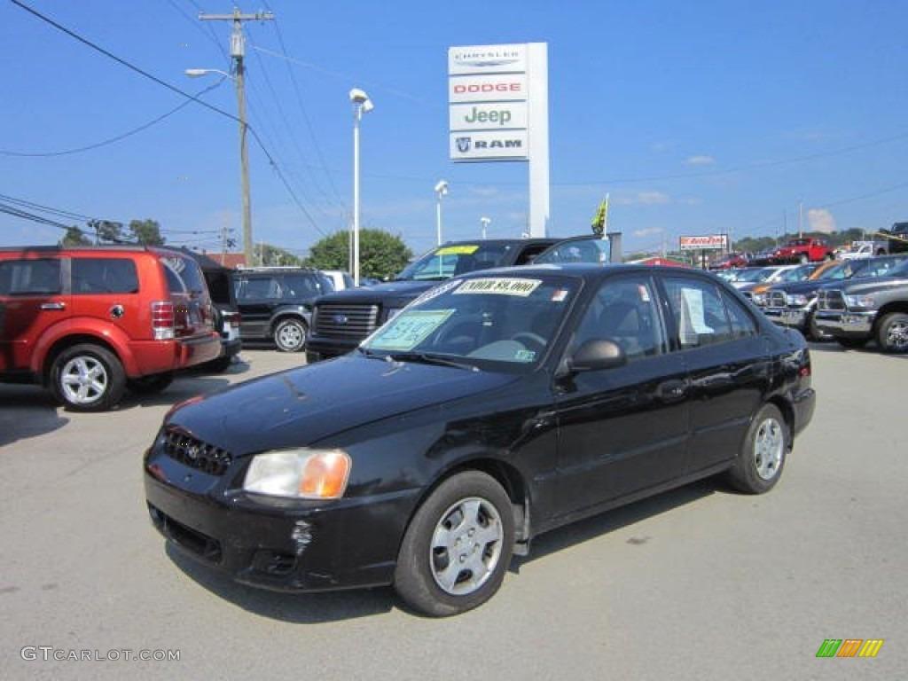 2002 ebony black hyundai accent gl sedan 68889857 gtcarlot com car color galleries gtcarlot com