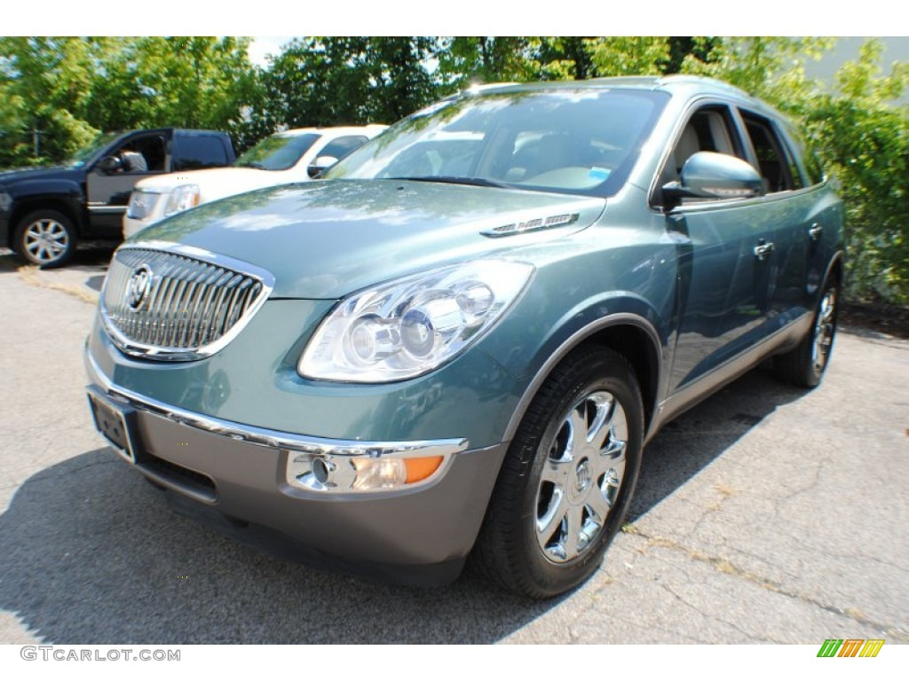 2009 Enclave CXL AWD - Silver Green Metallic / Dark Titanium/Titanium photo #1