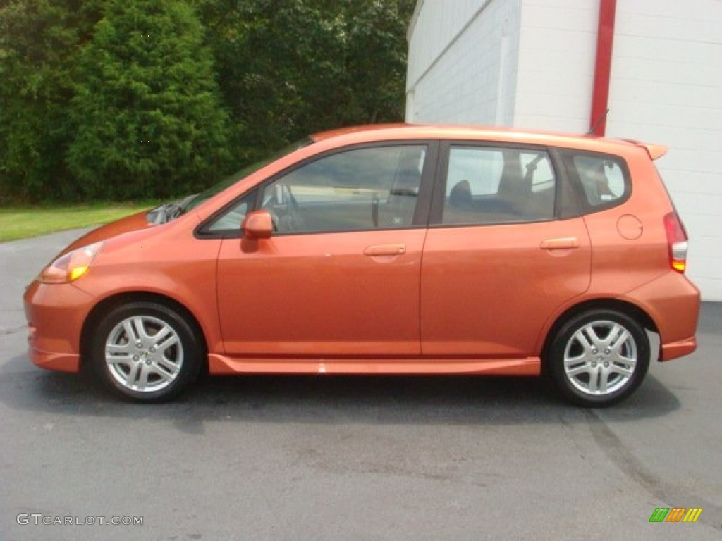 Blaze Orange Metallic 2008 Honda Fit Sport Exterior Photo #68993404