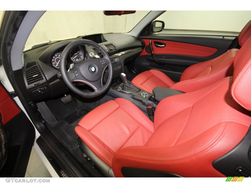 Coral Red Boston Leather Interior 2010 Bmw 1 Series 128i Coupe Photo 69007886