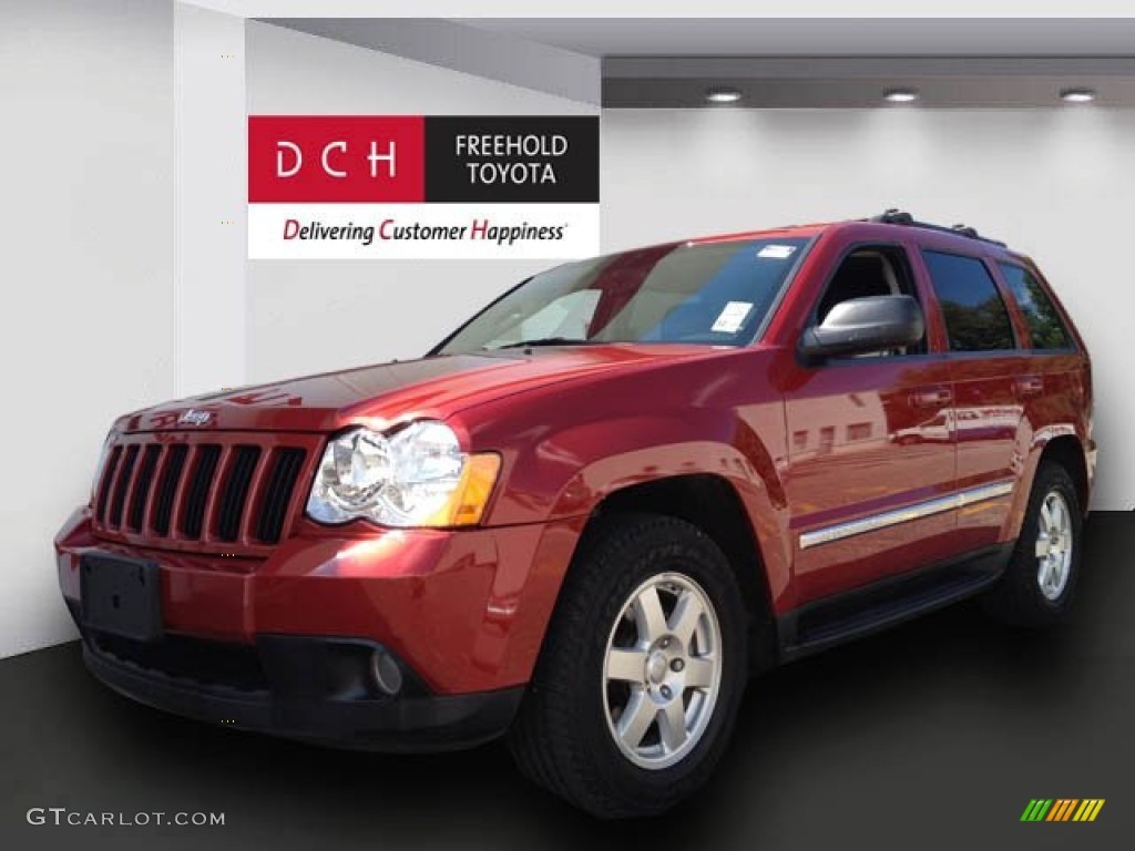 2010 inferno red crystal pearl jeep grand cherokee laredo 4x4 68988385 car. Black Bedroom Furniture Sets. Home Design Ideas