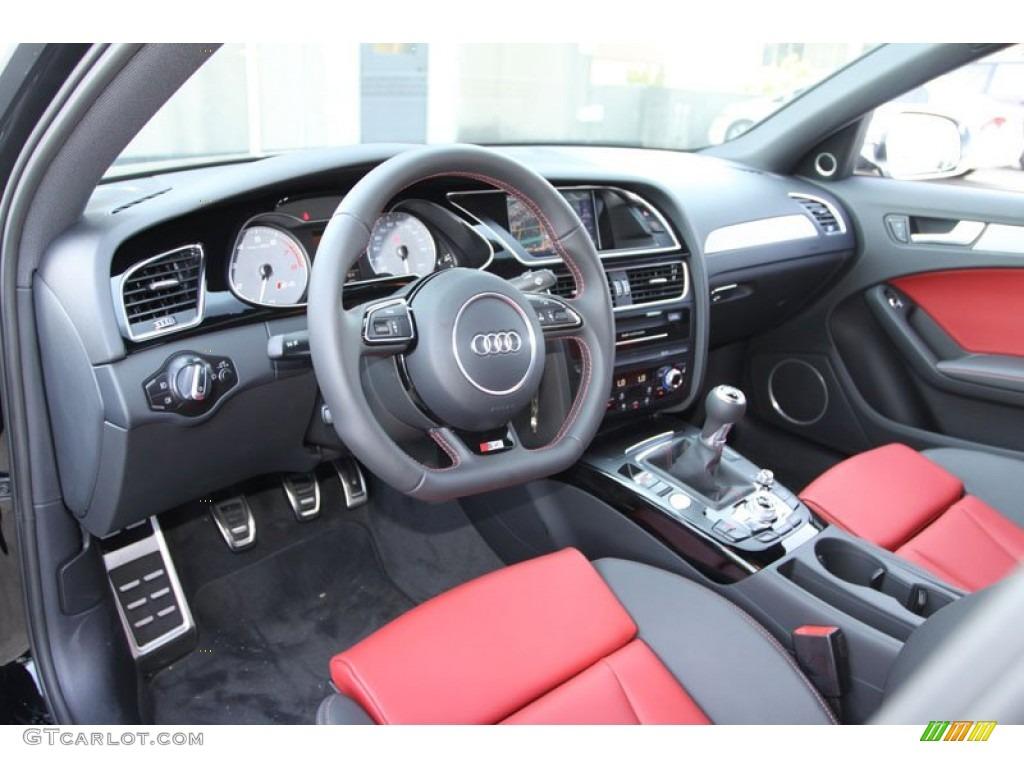 Black/Magma Red Interior 2013 Audi S4 3.0T Quattro Sedan Photo #69050549
