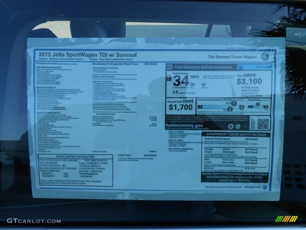 2013 volkswagen jetta tdi sportwagen window sticker photo 69060716