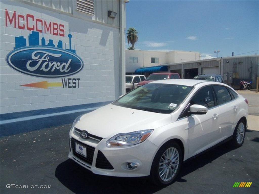 2012 Focus SEL Sedan - White Platinum Tricoat Metallic / Stone photo #23