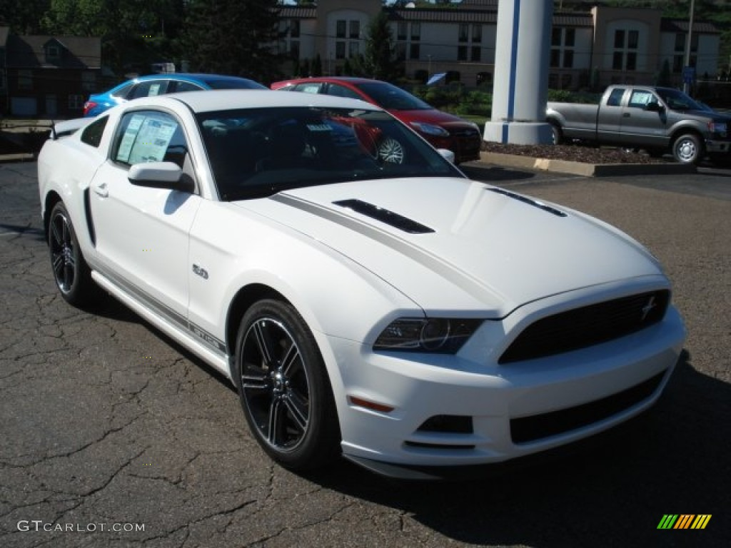 performance white ford mustang