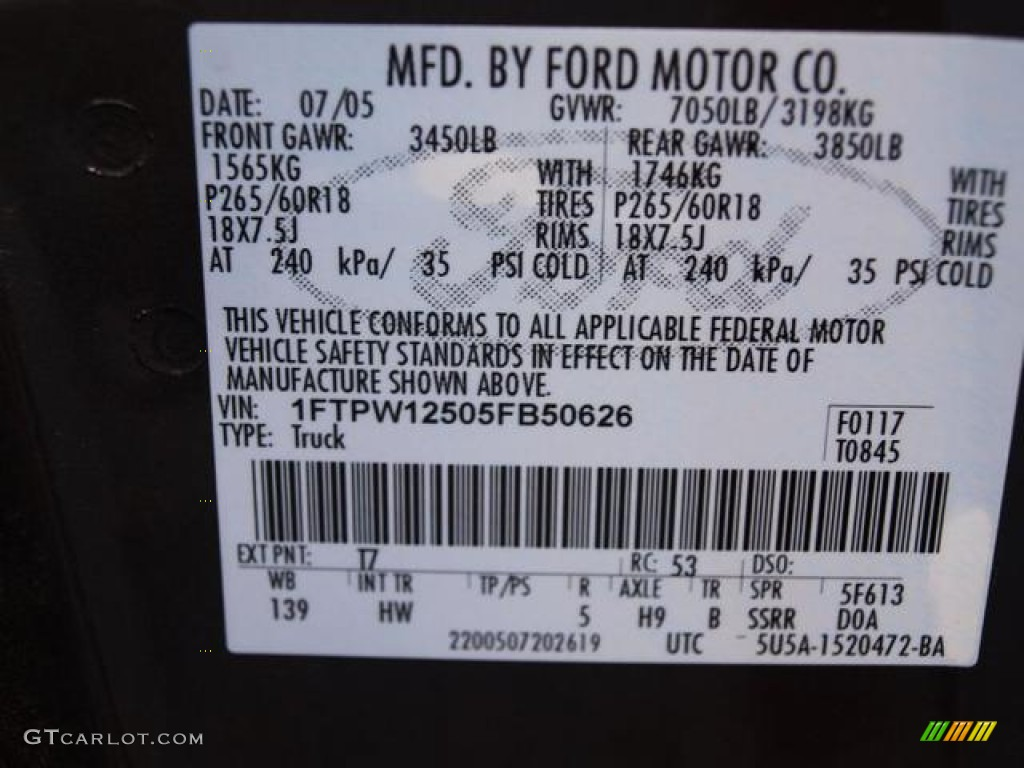 2005 F150 Color Code T7 For Dark Stone Metallic Photo