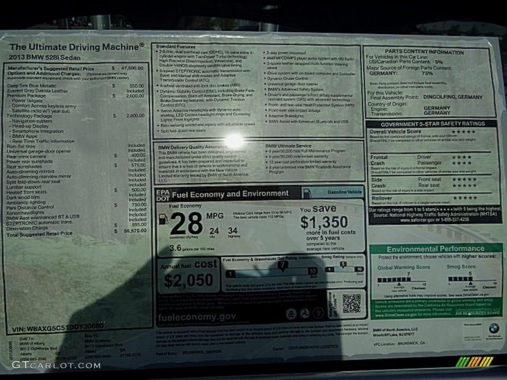 2013 BMW 5 Series 528i Sedan Window Sticker Photo ...