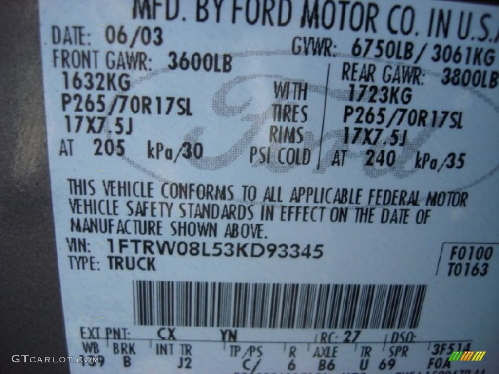 2003 F150 Color Code CX For Dark Shadow Grey Metallic Photo #69659895