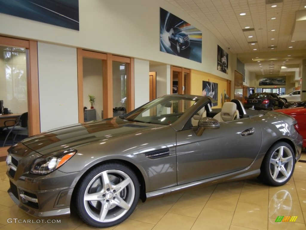 2013 slk 350 roadster indium grey metallic sahara beige photo 1
