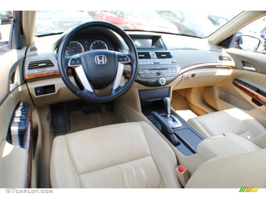 Ivory Interior 2009 Honda Accord Ex L V6 Sedan Photo