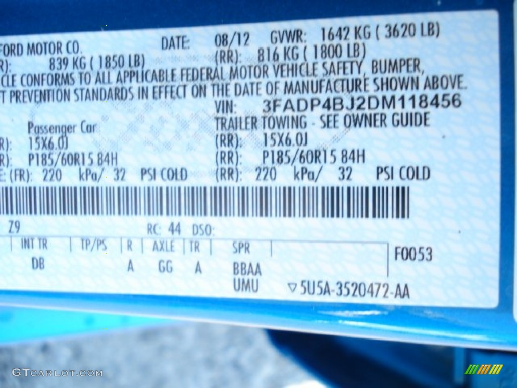 2013 Fiesta Color Code Z9 For Blue Candy Photo 69867703 Gtcarlot