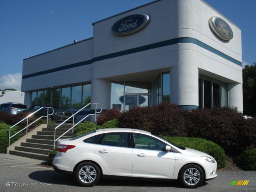2012 Focus SEL Sedan - White Platinum Tricoat Metallic / Stone photo #1