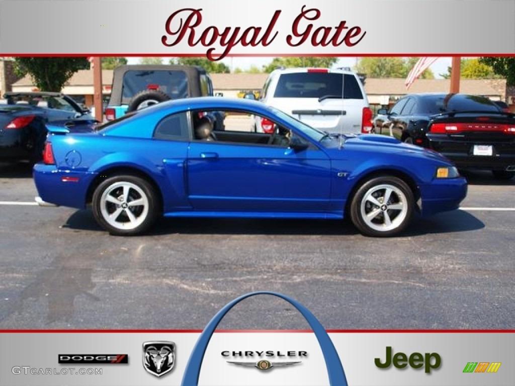 2003 Mustang GT Coupe - Sonic Blue Metallic / Medium Parchment photo #1