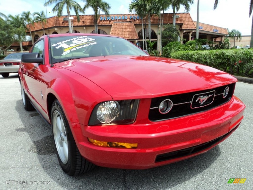 2007 Mustang V6 Premium Coupe - Torch Red / Medium Parchment photo #1