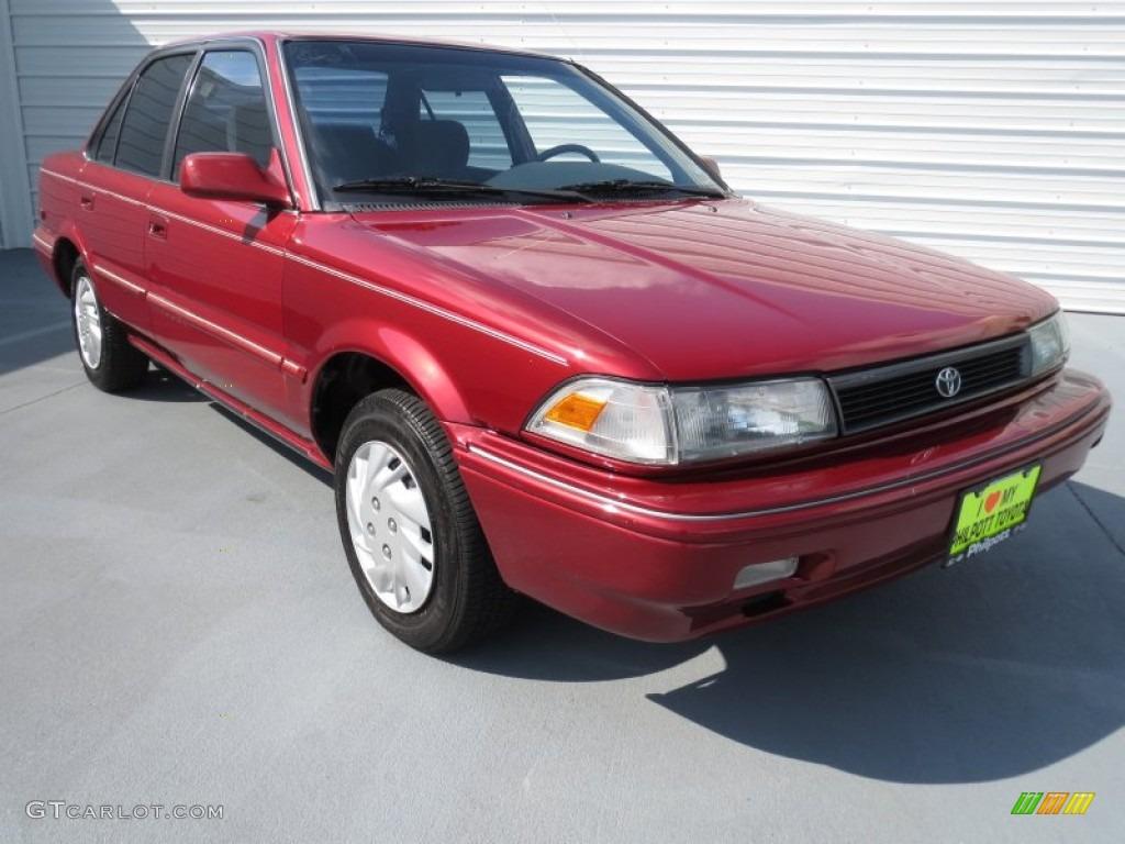 1991 Medium Red Pearl Metallic Toyota Corolla Le Sedan