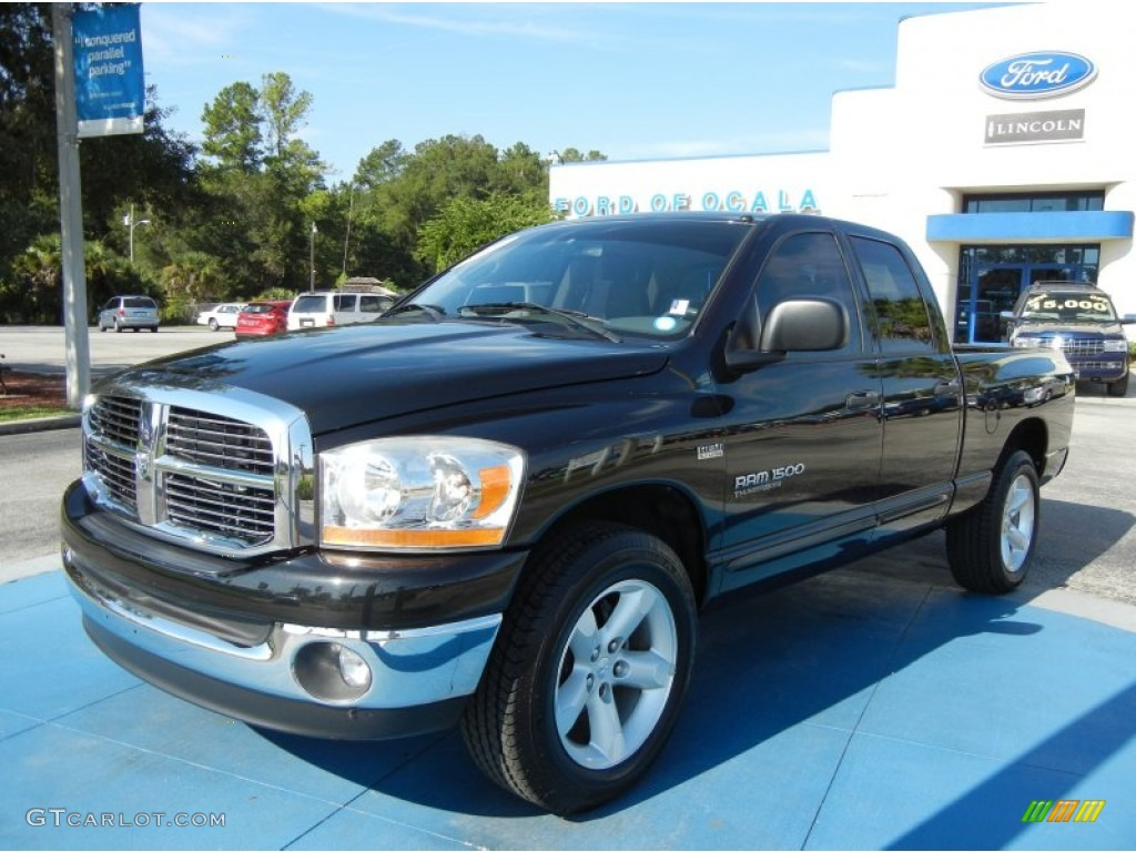 2006 Ram 1500 SLT Quad Cab - Brilliant Black Crystal Pearl / Medium Slate Gray photo #1